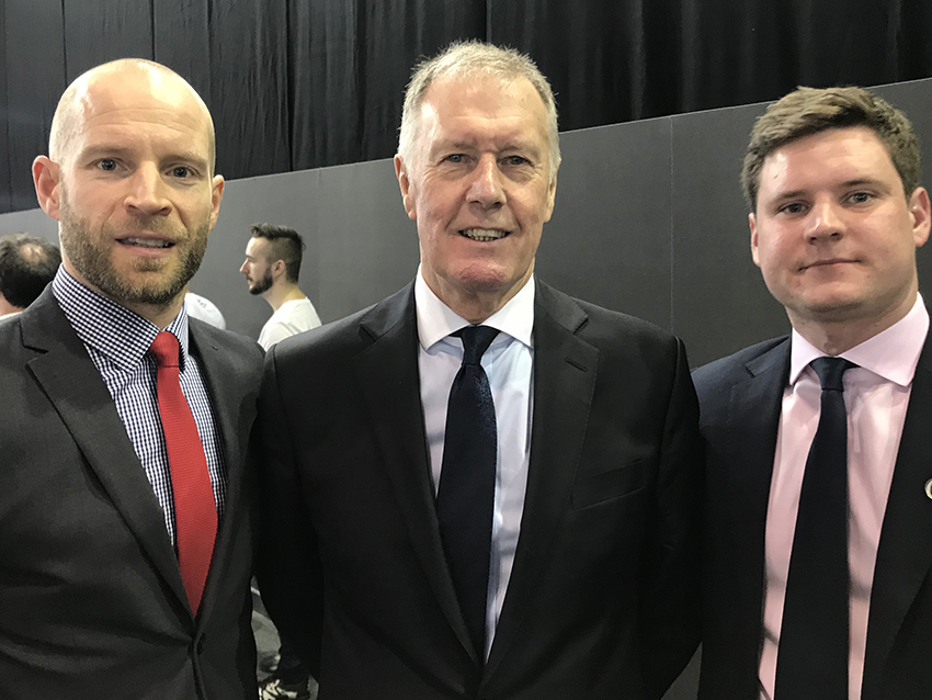 Sir Geoff Hurst Andy and Jonathan shield